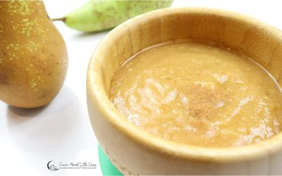 Warm Pear Puree With Skin | Baby Constipation Recipe